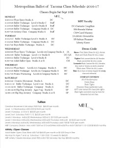 Ballet Class Schedule for 2016-17